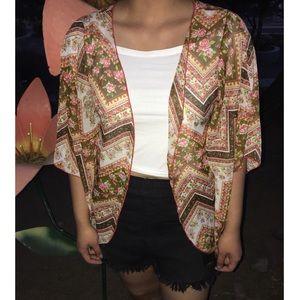 Brown /pink floral Kimono